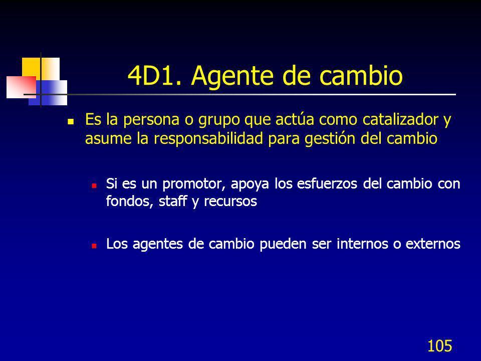 105 4D1. Agente de cambio Es la persona o grupo que actúa como catalizador y asume la responsabilidad para gestión del cambio Si es un promotor, apoya