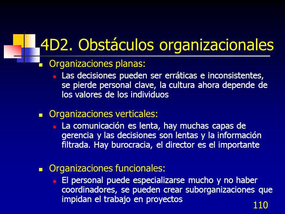 110 4D2. Obstáculos organizacionales Organizaciones planas: Las decisiones pueden ser erráticas e inconsistentes, se pierde personal clave, la cultura