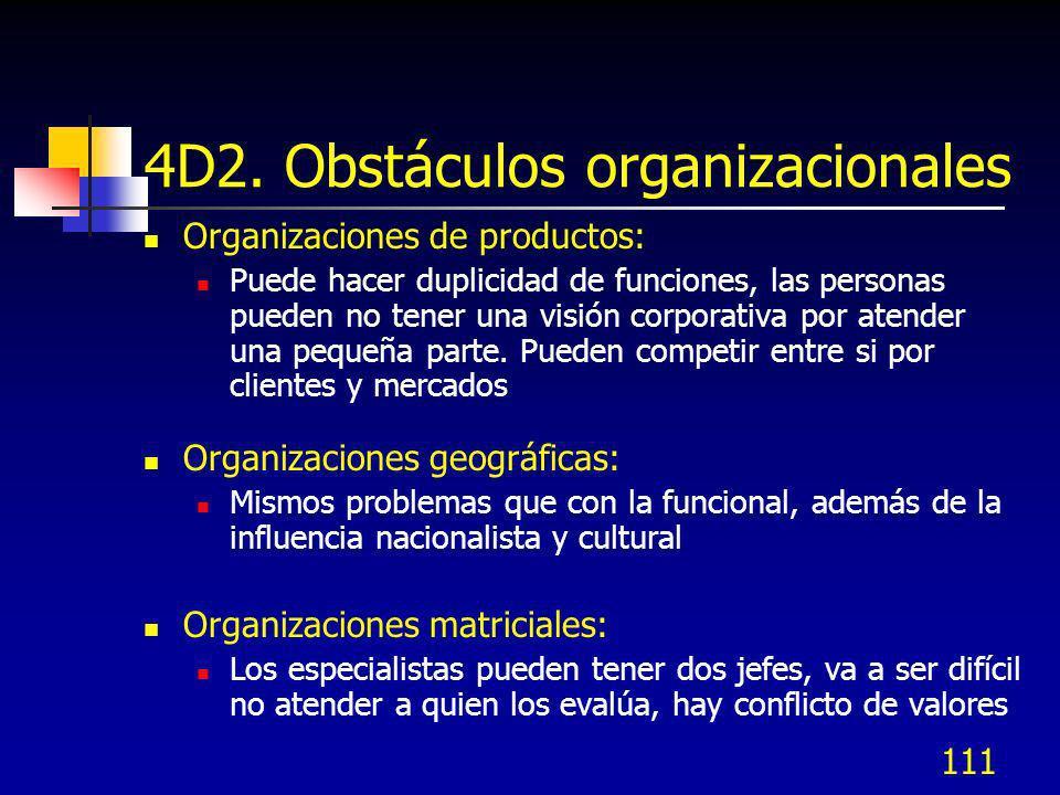111 4D2. Obstáculos organizacionales Organizaciones de productos: Puede hacer duplicidad de funciones, las personas pueden no tener una visión corpora