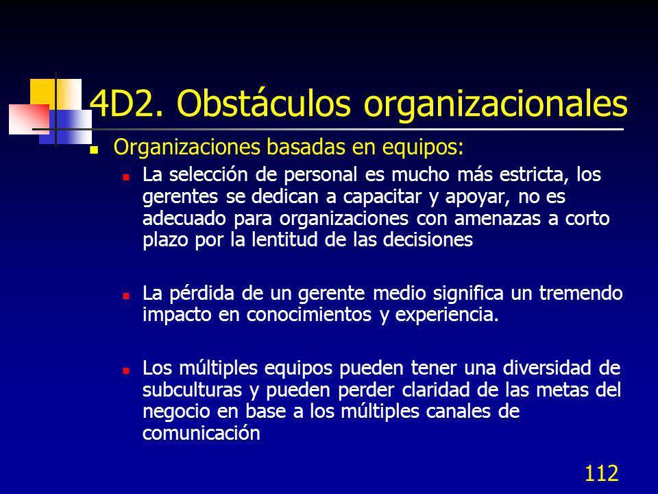 112 4D2. Obstáculos organizacionales Organizaciones basadas en equipos: La selección de personal es mucho más estricta, los gerentes se dedican a capa