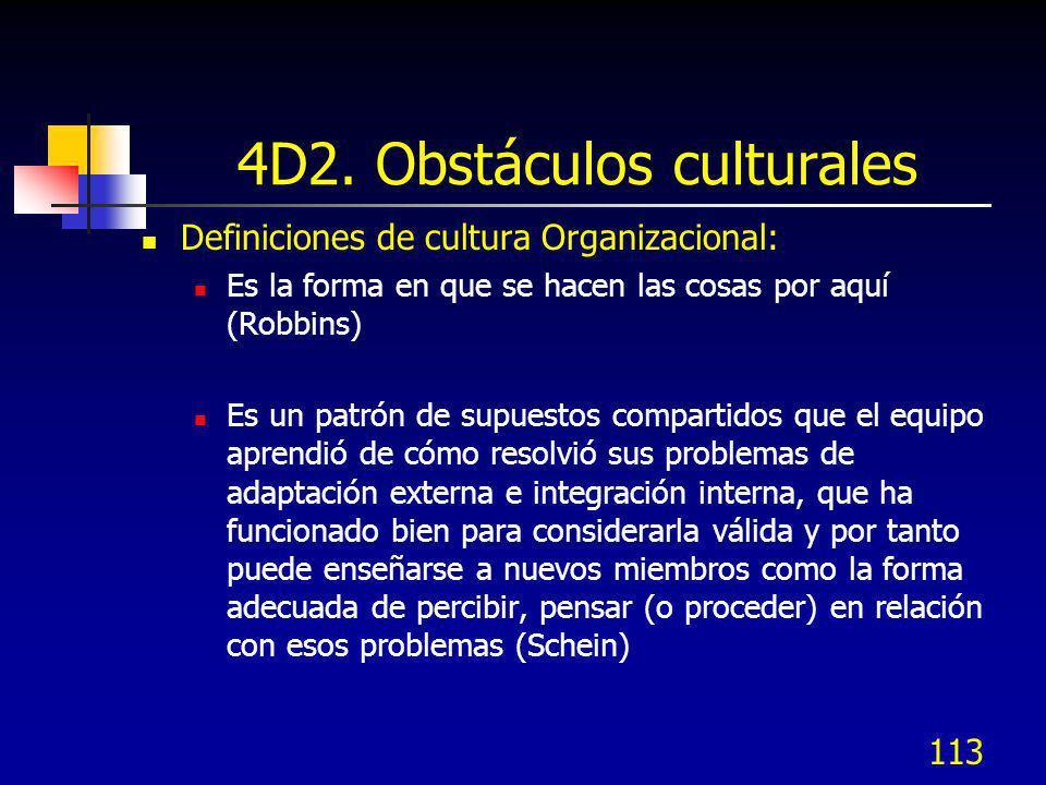 113 4D2. Obstáculos culturales Definiciones de cultura Organizacional: Es la forma en que se hacen las cosas por aquí (Robbins) Es un patrón de supues
