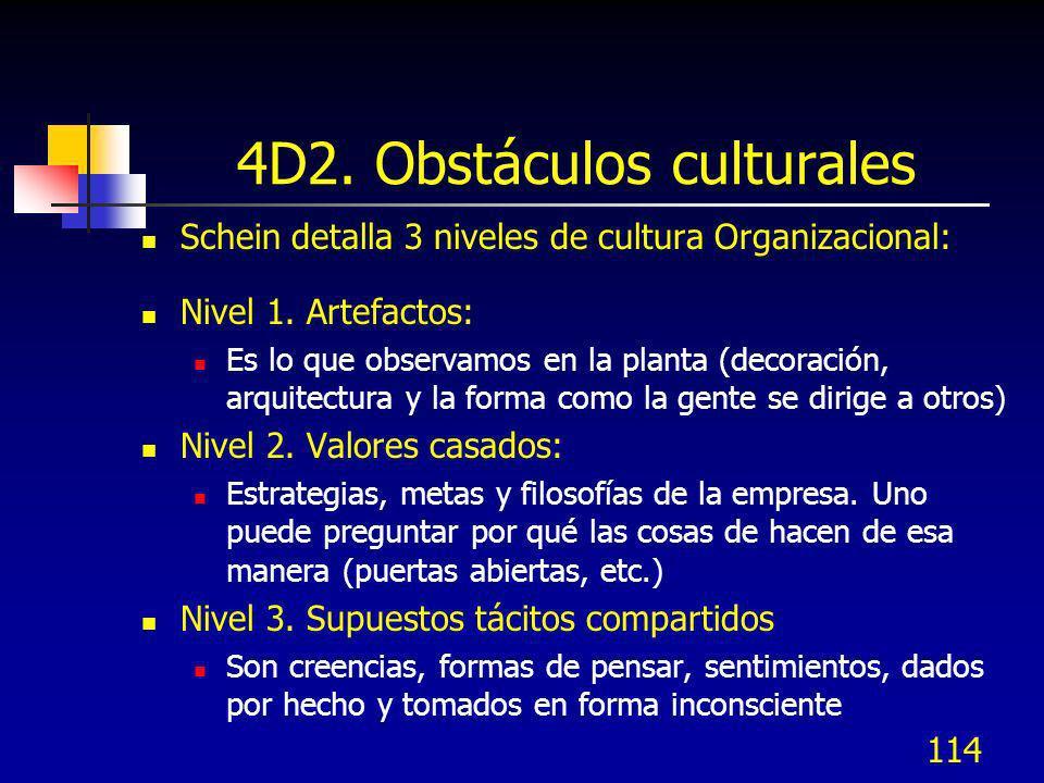 114 4D2. Obstáculos culturales Schein detalla 3 niveles de cultura Organizacional: Nivel 1. Artefactos: Es lo que observamos en la planta (decoración,