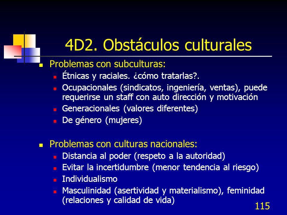 115 4D2. Obstáculos culturales Problemas con subculturas: Étnicas y raciales. ¿cómo tratarlas?. Ocupacionales (sindicatos, ingeniería, ventas), puede