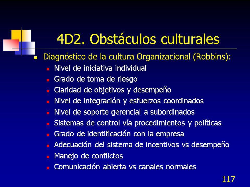 117 4D2. Obstáculos culturales Diagnóstico de la cultura Organizacional (Robbins): Nivel de iniciativa individual Grado de toma de riesgo Claridad de