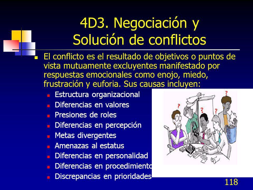118 4D3. Negociación y Solución de conflictos El conflicto es el resultado de objetivos o puntos de vista mutuamente excluyentes manifestado por respu
