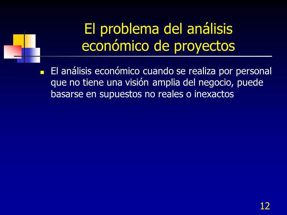 12 El problema del análisis económico de proyectos El análisis económico cuando se realiza por personal que no tiene una visión amplia del negocio, pu
