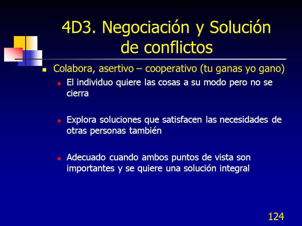 124 4D3. Negociación y Solución de conflictos Colabora, asertivo – cooperativo (tu ganas yo gano) El individuo quiere las cosas a su modo pero no se c