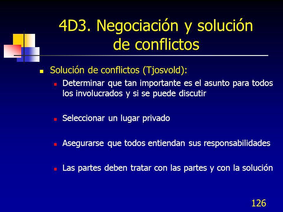 126 4D3. Negociación y solución de conflictos Solución de conflictos (Tjosvold): Determinar que tan importante es el asunto para todos los involucrado