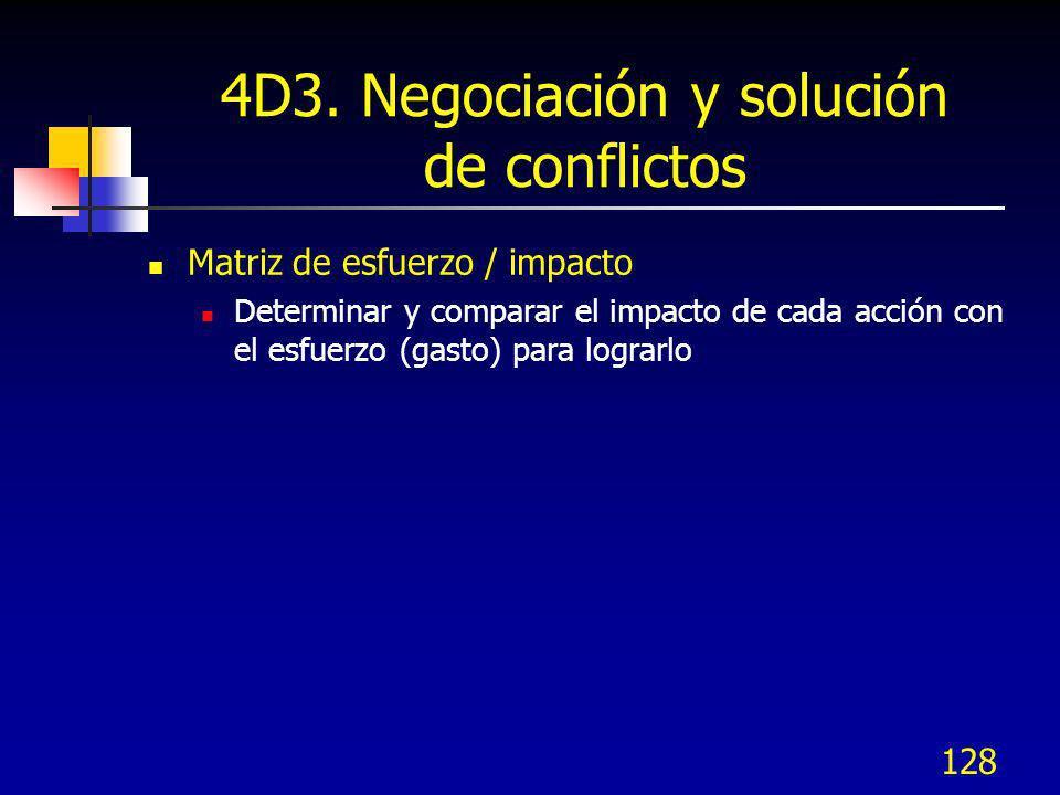128 4D3. Negociación y solución de conflictos Matriz de esfuerzo / impacto Determinar y comparar el impacto de cada acción con el esfuerzo (gasto) par