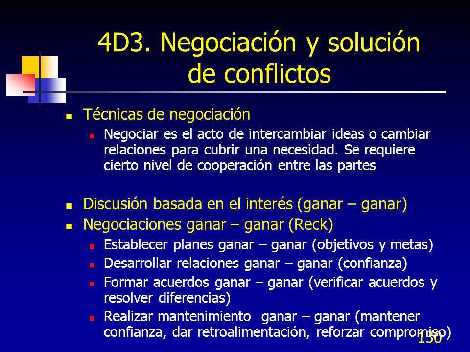 130 4D3. Negociación y solución de conflictos Técnicas de negociación Negociar es el acto de intercambiar ideas o cambiar relaciones para cubrir una n