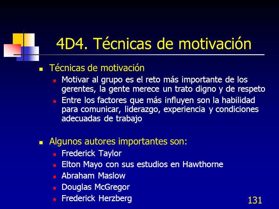 131 4D4. Técnicas de motivación Técnicas de motivación Motivar al grupo es el reto más importante de los gerentes, la gente merece un trato digno y de