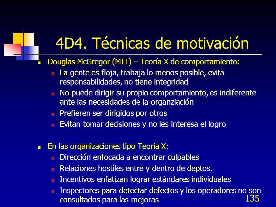 135 4D4. Técnicas de motivación Douglas McGregor (MIT) – Teoría X de comportamiento: La gente es floja, trabaja lo menos posible, evita responsabilida