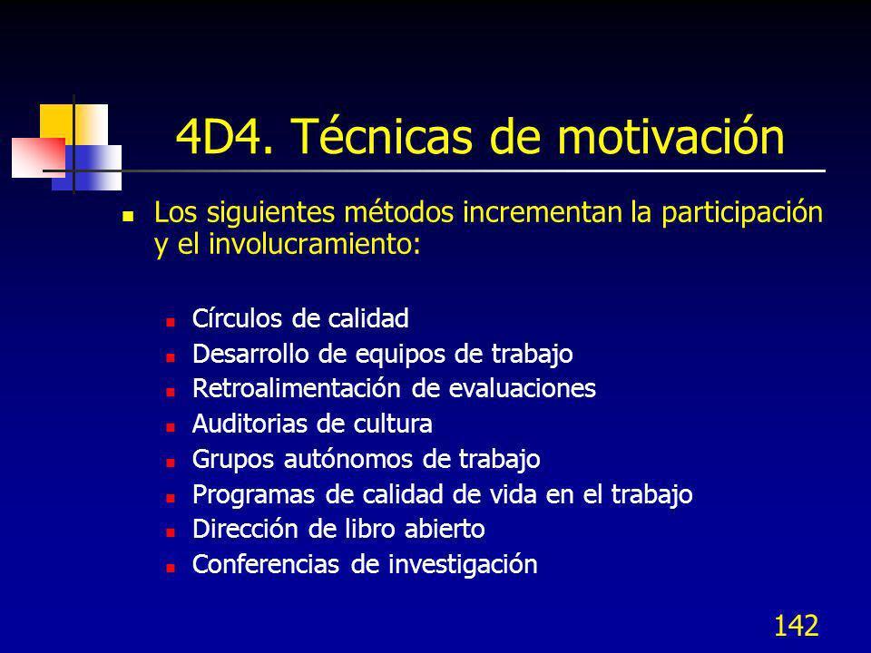 142 4D4. Técnicas de motivación Los siguientes métodos incrementan la participación y el involucramiento: Círculos de calidad Desarrollo de equipos de