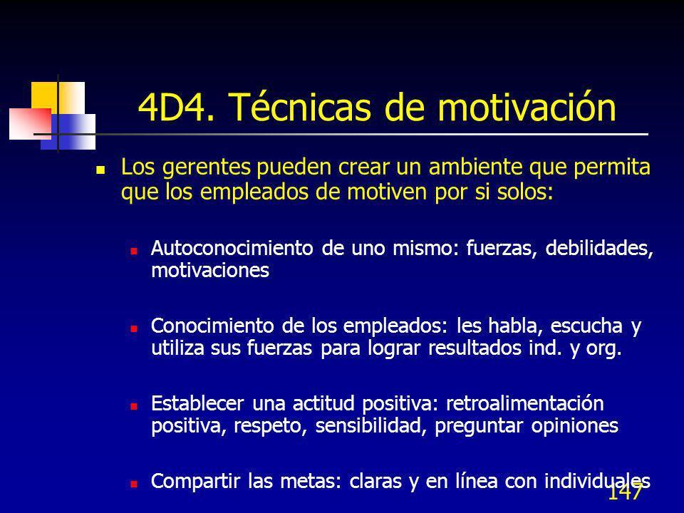 147 4D4. Técnicas de motivación Los gerentes pueden crear un ambiente que permita que los empleados de motiven por si solos: Autoconocimiento de uno m