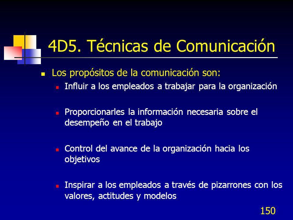 150 4D5. Técnicas de Comunicación Los propósitos de la comunicación son: Influir a los empleados a trabajar para la organización Proporcionarles la in