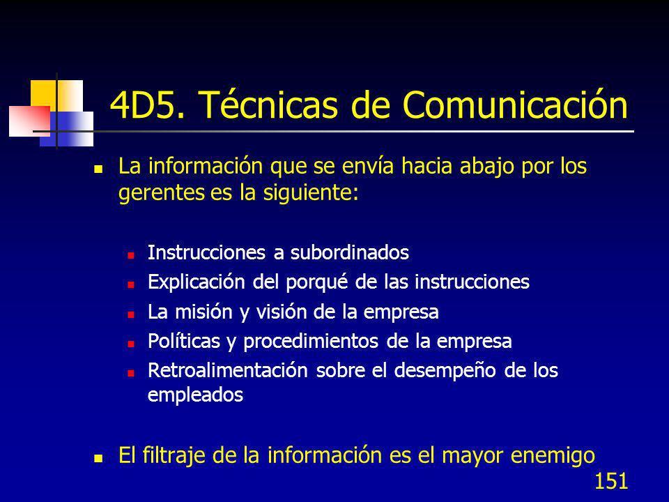 151 4D5. Técnicas de Comunicación La información que se envía hacia abajo por los gerentes es la siguiente: Instrucciones a subordinados Explicación d
