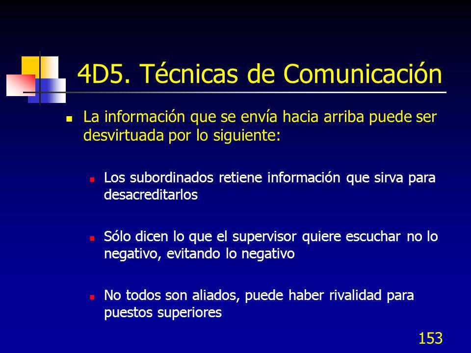 153 4D5. Técnicas de Comunicación La información que se envía hacia arriba puede ser desvirtuada por lo siguiente: Los subordinados retiene informació