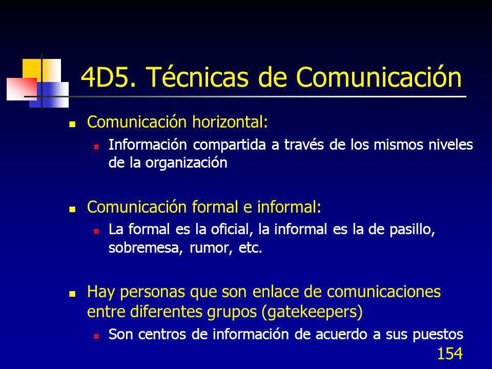 154 4D5. Técnicas de Comunicación Comunicación horizontal: Información compartida a través de los mismos niveles de la organización Comunicación forma