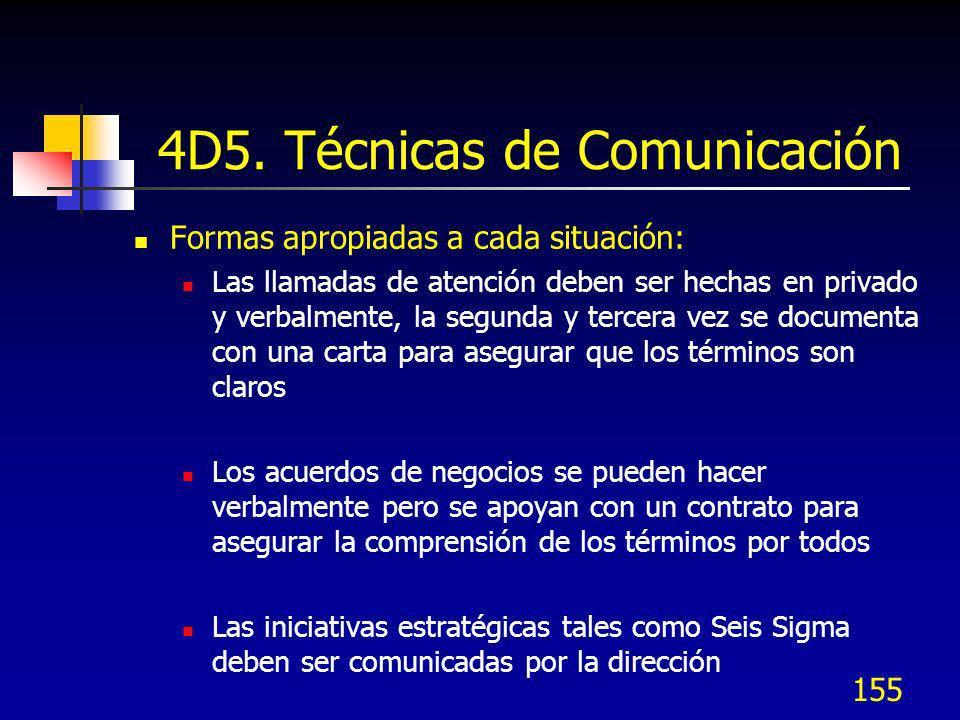 155 4D5. Técnicas de Comunicación Formas apropiadas a cada situación: Las llamadas de atención deben ser hechas en privado y verbalmente, la segunda y