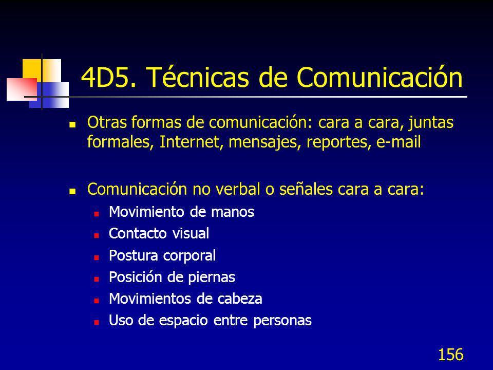 156 4D5. Técnicas de Comunicación Otras formas de comunicación: cara a cara, juntas formales, Internet, mensajes, reportes, e-mail Comunicación no ver