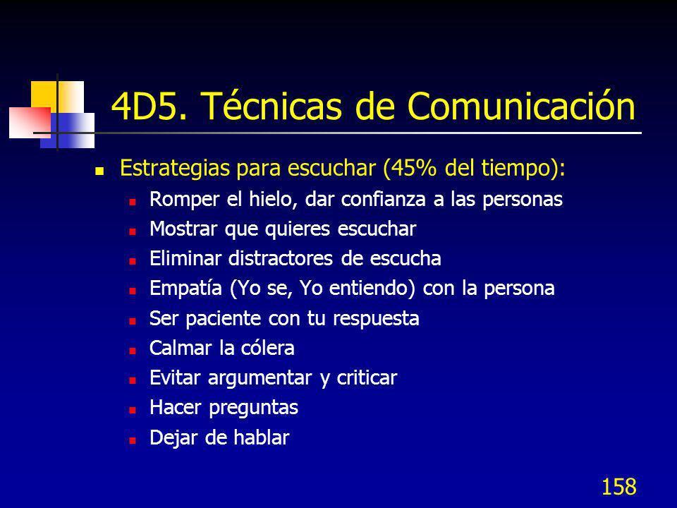 158 4D5. Técnicas de Comunicación Estrategias para escuchar (45% del tiempo): Romper el hielo, dar confianza a las personas Mostrar que quieres escuch