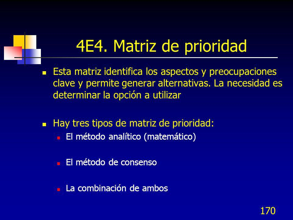 170 4E4. Matriz de prioridad Esta matriz identifica los aspectos y preocupaciones clave y permite generar alternativas. La necesidad es determinar la