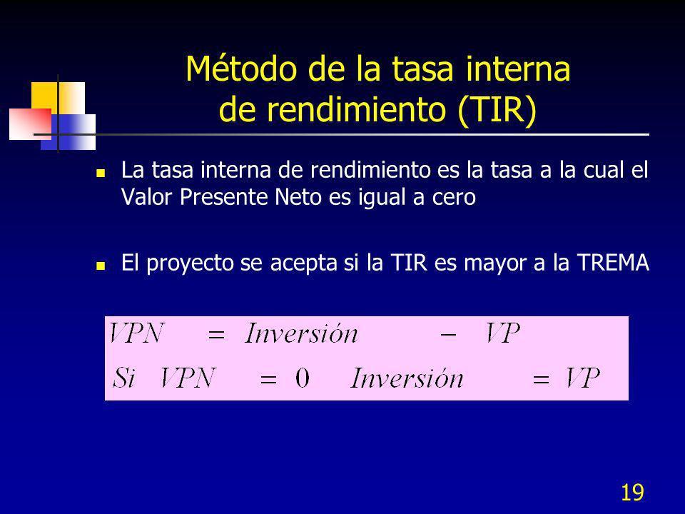 19 Método de la tasa interna de rendimiento (TIR) La tasa interna de rendimiento es la tasa a la cual el Valor Presente Neto es igual a cero El proyec