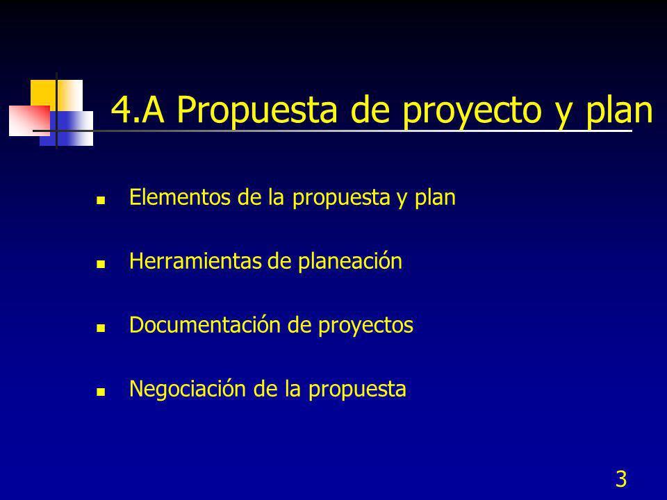 3 4.A Propuesta de proyecto y plan Elementos de la propuesta y plan Herramientas de planeación Documentación de proyectos Negociación de la propuesta