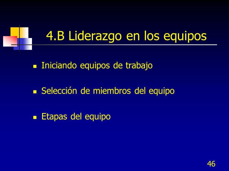 46 4.B Liderazgo en los equipos Iniciando equipos de trabajo Selección de miembros del equipo Etapas del equipo