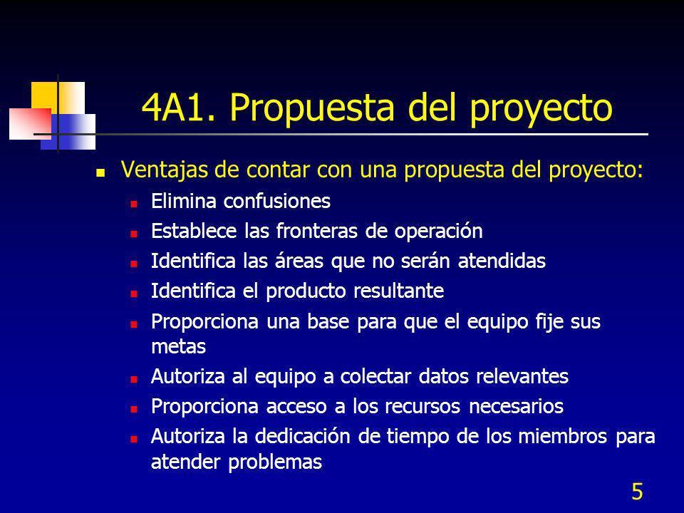 5 4A1. Propuesta del proyecto Ventajas de contar con una propuesta del proyecto: Elimina confusiones Establece las fronteras de operación Identifica l