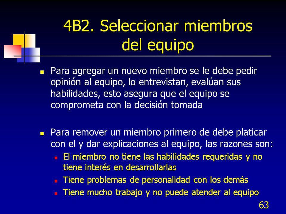 63 4B2. Seleccionar miembros del equipo Para agregar un nuevo miembro se le debe pedir opinión al equipo, lo entrevistan, evalúan sus habilidades, est