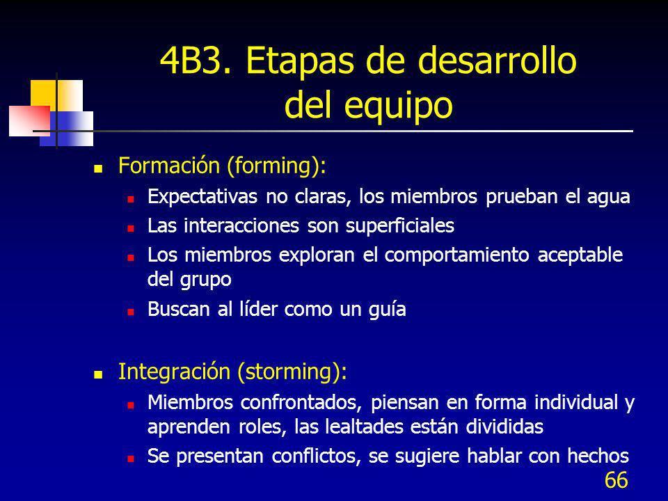 66 4B3. Etapas de desarrollo del equipo Formación (forming): Expectativas no claras, los miembros prueban el agua Las interacciones son superficiales