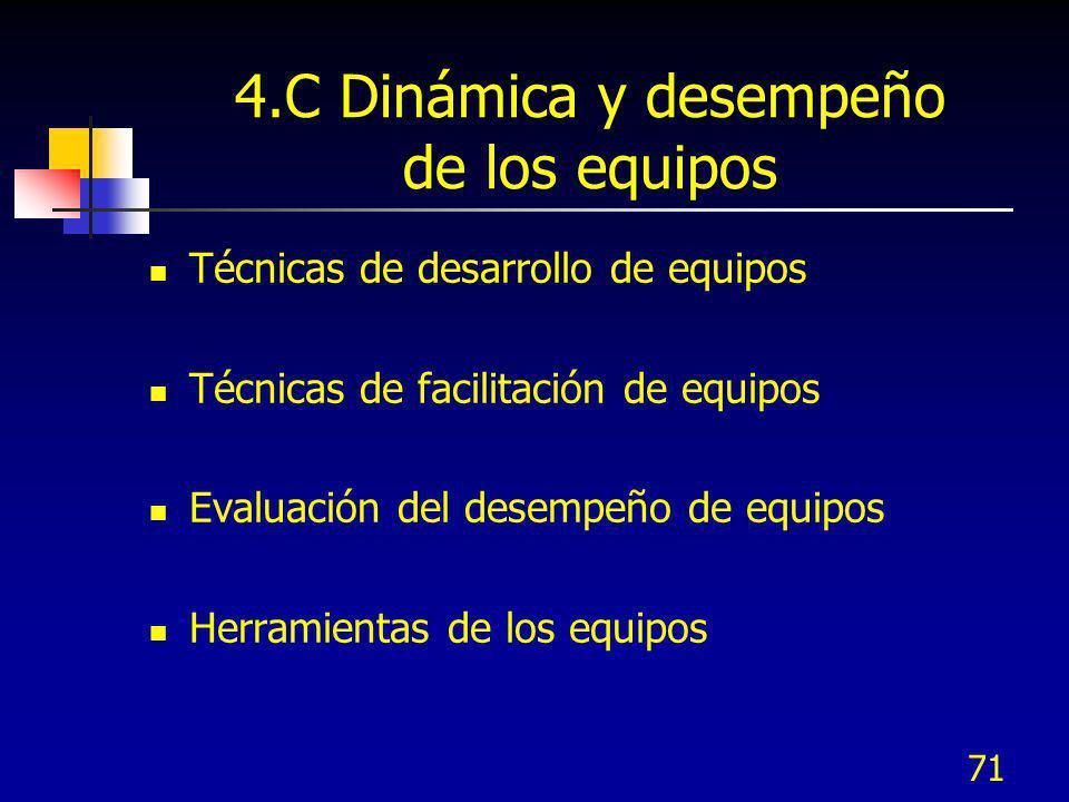 71 4.C Dinámica y desempeño de los equipos Técnicas de desarrollo de equipos Técnicas de facilitación de equipos Evaluación del desempeño de equipos H