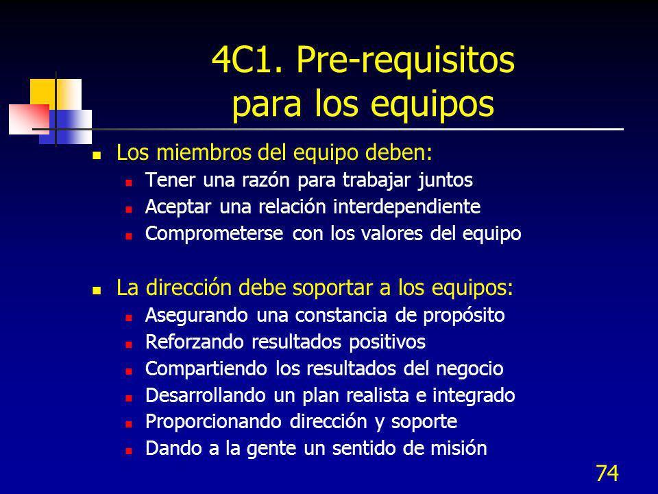 74 4C1. Pre-requisitos para los equipos Los miembros del equipo deben: Tener una razón para trabajar juntos Aceptar una relación interdependiente Comp