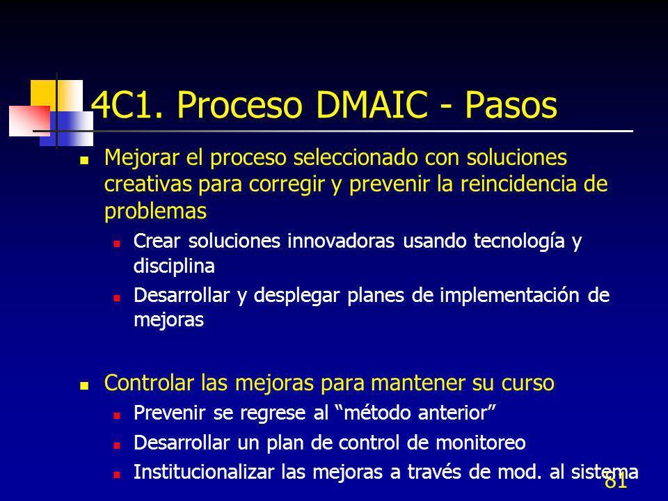 81 4C1. Proceso DMAIC - Pasos Mejorar el proceso seleccionado con soluciones creativas para corregir y prevenir la reincidencia de problemas Crear sol