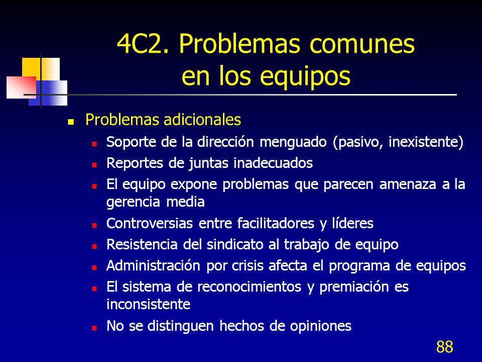 88 4C2. Problemas comunes en los equipos Problemas adicionales Soporte de la dirección menguado (pasivo, inexistente) Reportes de juntas inadecuados E