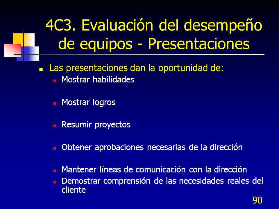 90 4C3. Evaluación del desempeño de equipos - Presentaciones Las presentaciones dan la oportunidad de: Mostrar habilidades Mostrar logros Resumir proy