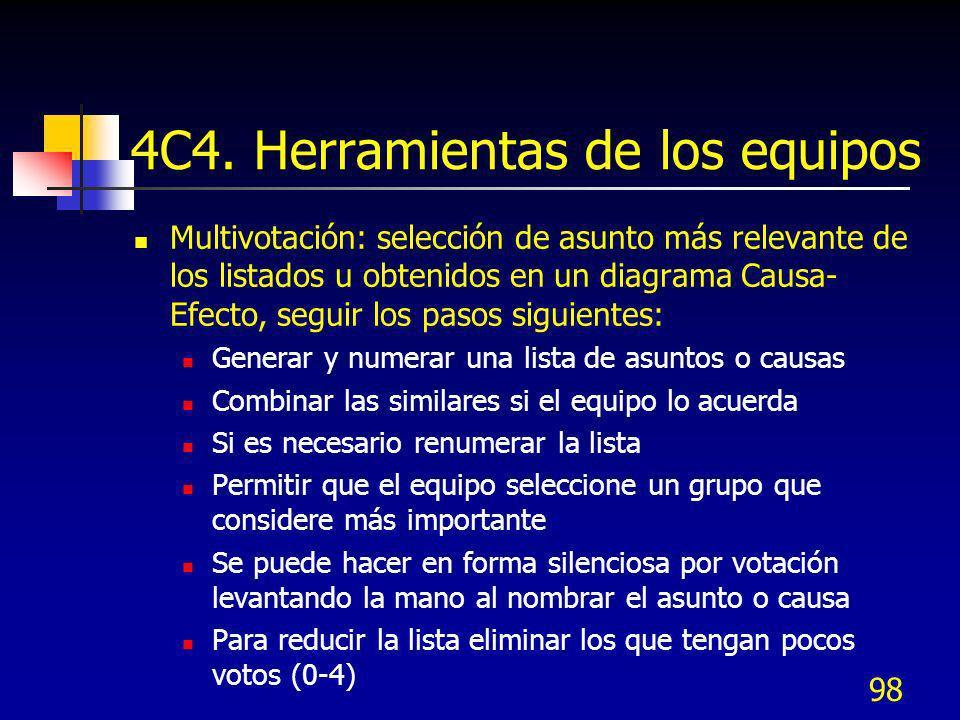 98 4C4. Herramientas de los equipos Multivotación: selección de asunto más relevante de los listados u obtenidos en un diagrama Causa- Efecto, seguir
