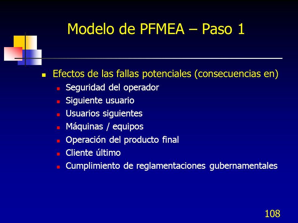 108 Modelo de PFMEA – Paso 1 Efectos de las fallas potenciales (consecuencias en) Seguridad del operador Siguiente usuario Usuarios siguientes Máquina