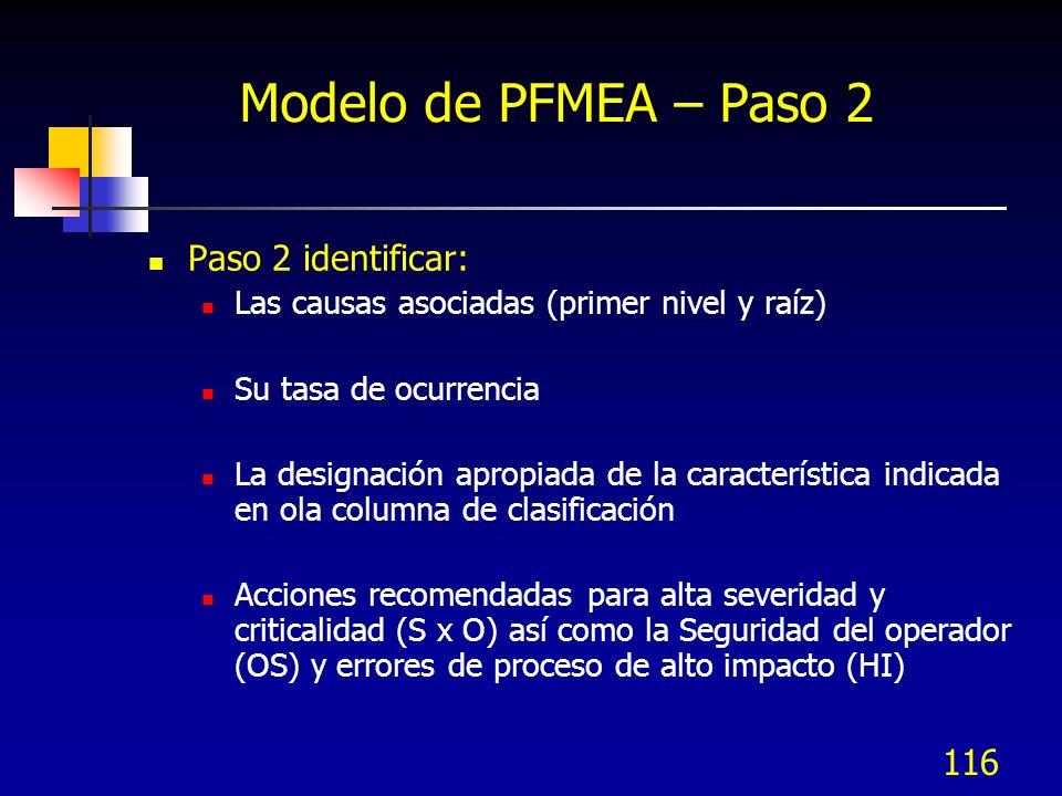 116 Modelo de PFMEA – Paso 2 Paso 2 identificar: Las causas asociadas (primer nivel y raíz) Su tasa de ocurrencia La designación apropiada de la carac