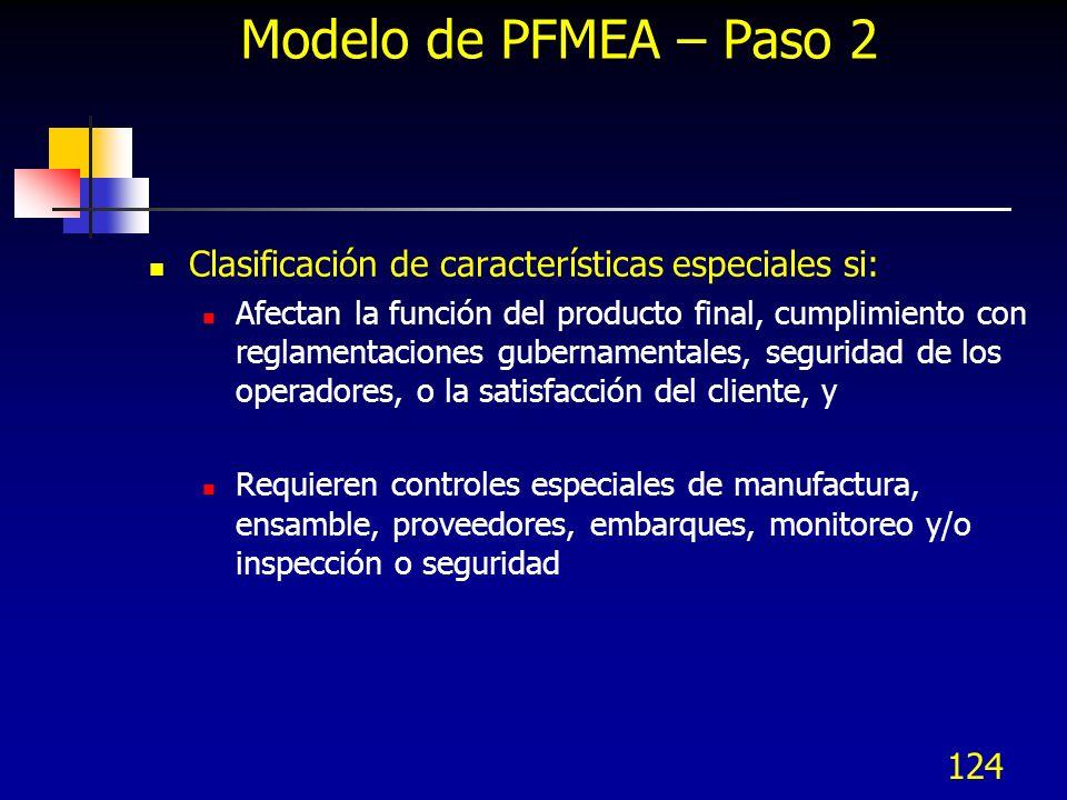 124 Modelo de PFMEA – Paso 2 Clasificación de características especiales si: Afectan la función del producto final, cumplimiento con reglamentaciones