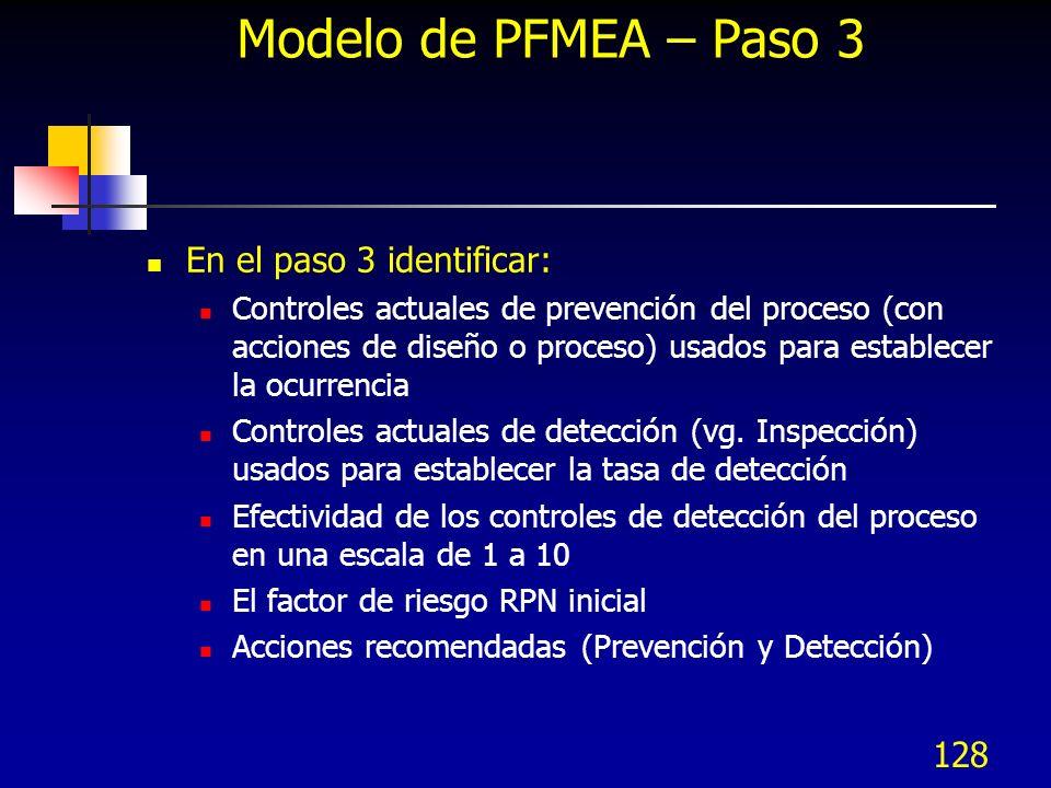 128 Modelo de PFMEA – Paso 3 En el paso 3 identificar: Controles actuales de prevención del proceso (con acciones de diseño o proceso) usados para est