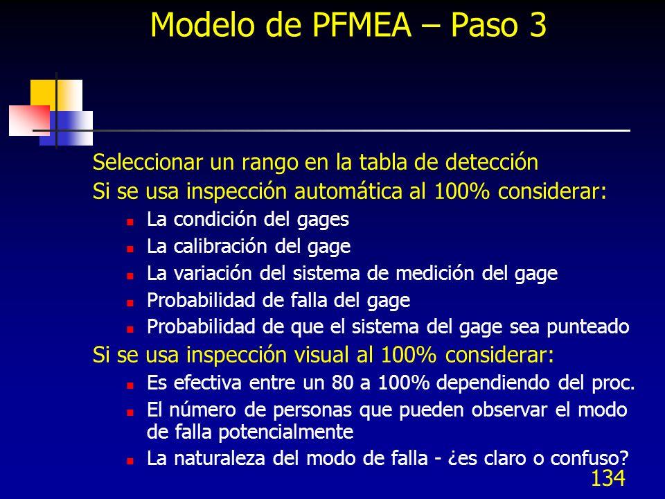 134 Modelo de PFMEA – Paso 3 Seleccionar un rango en la tabla de detección Si se usa inspección automática al 100% considerar: La condición del gages