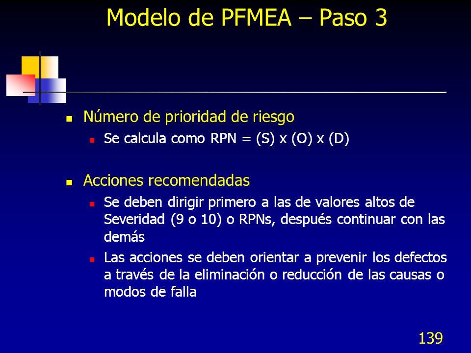 139 Modelo de PFMEA – Paso 3 Número de prioridad de riesgo Se calcula como RPN = (S) x (O) x (D) Acciones recomendadas Se deben dirigir primero a las