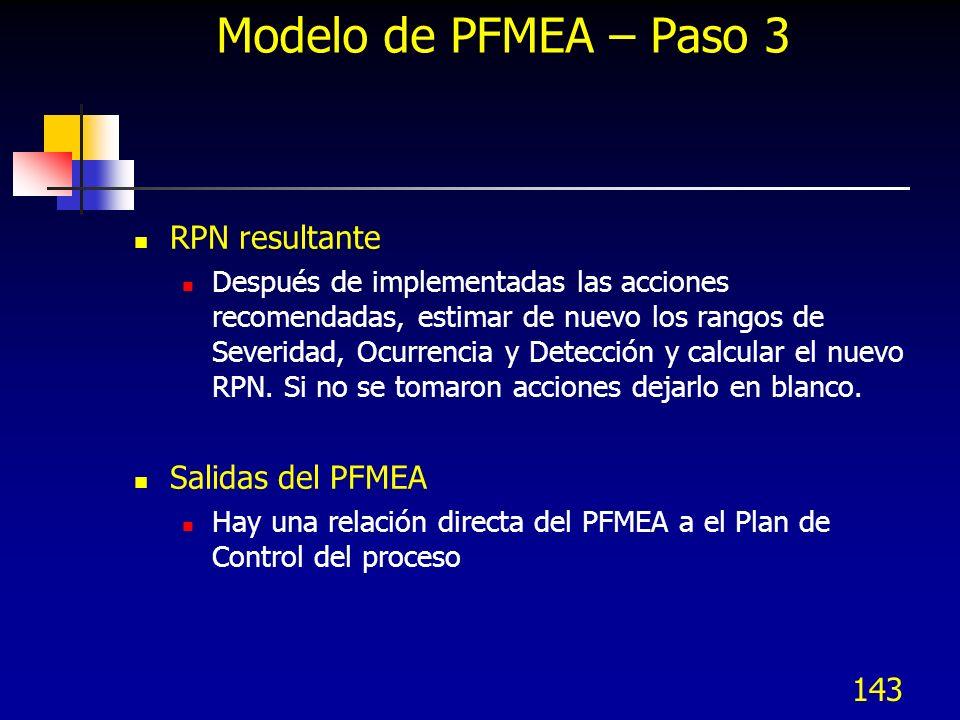 143 Modelo de PFMEA – Paso 3 RPN resultante Después de implementadas las acciones recomendadas, estimar de nuevo los rangos de Severidad, Ocurrencia y