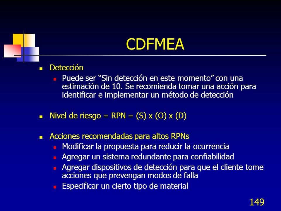 149 CDFMEA Detección Puede ser Sin detección en este momento con una estimación de 10. Se recomienda tomar una acción para identificar e implementar u