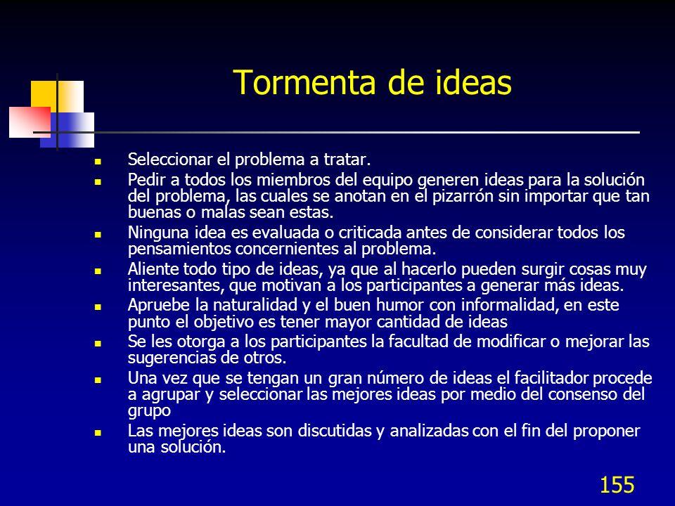 155 Tormenta de ideas Seleccionar el problema a tratar. Pedir a todos los miembros del equipo generen ideas para la solución del problema, las cuales