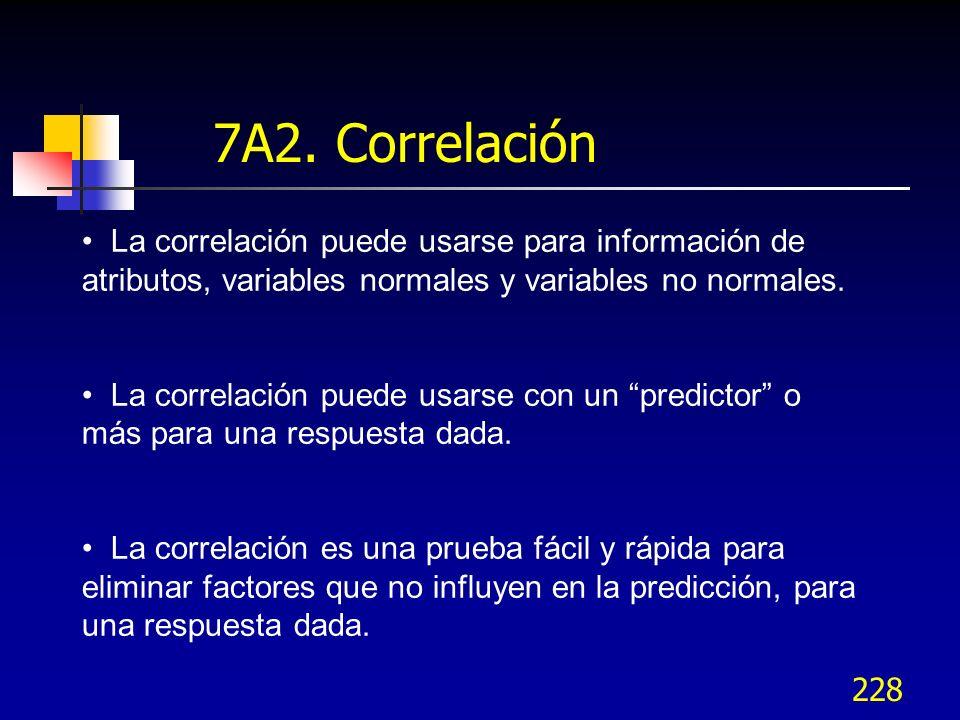 228 La correlación puede usarse para información de atributos, variables normales y variables no normales. La correlación puede usarse con un predicto