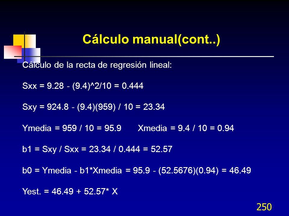 250 Cálculo manual(cont..) Cálculo de la recta de regresión lineal: Sxx = 9.28 - (9.4)^2/10 = 0.444 Sxy = 924.8 - (9.4)(959) / 10 = 23.34 Ymedia = 959