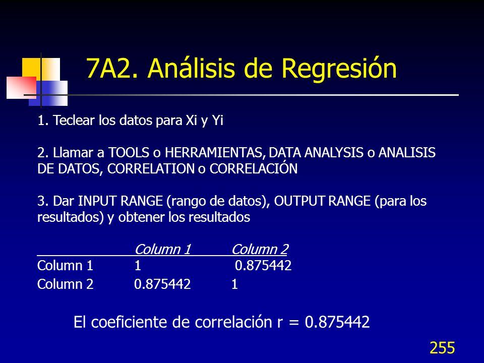 255 1. Teclear los datos para Xi y Yi 2. Llamar a TOOLS o HERRAMIENTAS, DATA ANALYSIS o ANALISIS DE DATOS, CORRELATION o CORRELACIÓN 3. Dar INPUT RANG
